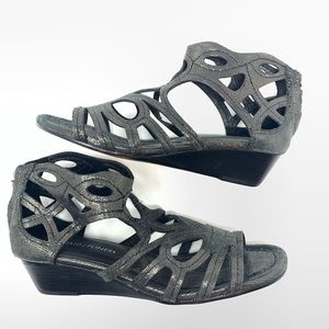 Donald J. Pliner | Leather Cutout Gunmetal Sandals